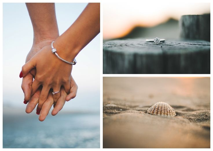 Triptych collage of engagement shoot details and accessories: engagement ring, holding hands, sea shell in the sand. www.ellen-richardson-weddings.com/blog