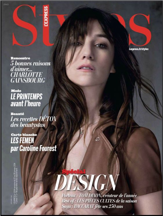 Charlotte Gainsbourg on the cover of L'Express Styles, January 22, 2014 #charlottegainsbourg Photo by #katebarry