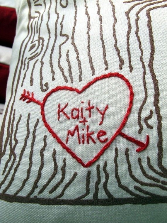 custom heart  tree print pillow cover  personalized by cozyblue, $36.00