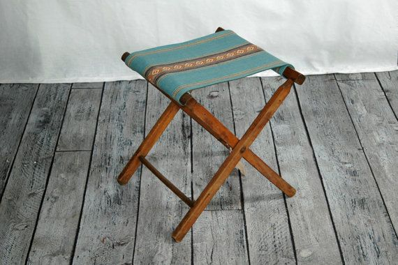 Vintage Wooden Folding Camp Stool with new blue Southwestern fabric by territoryhardgoods, $69.00