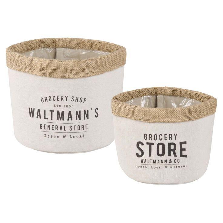 2 cestini in iuta e cotone bianco   Maisons du Monde