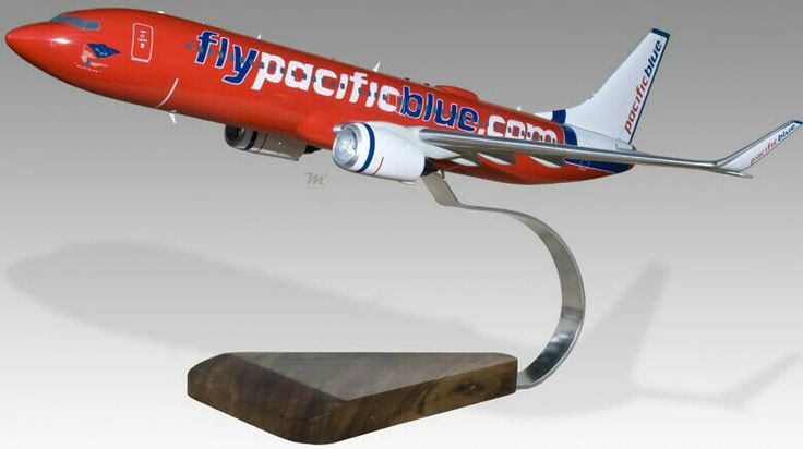 Pacific Blue Boeing 737-800 Wooden Model