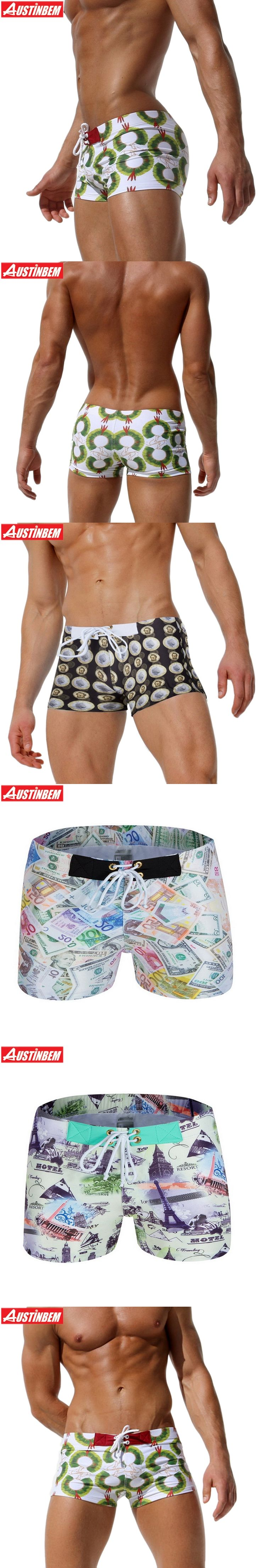 AUSTINBEM 4 style gold coins Men Swimwear Shorts bandage maillot de bain Men'S Swimming Trunks men briefs sport men Swimsuit 293