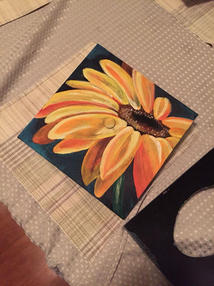 Painted sunflower graduation cap