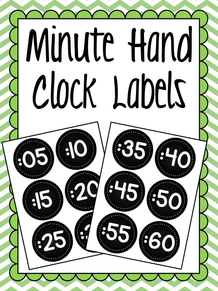 FREEBIE: Minute Hand Clock Labels Add these free chalkboard labels to your classroom clock so that students are able to quickly see what time the minute hand is on!