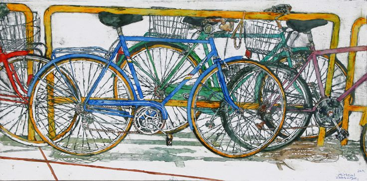 "lido bikes (81) 18"" x 36"" x 1 3/4"" micheal zarowsky / Mixed media (watercolour / acrylic painted directly on gessoed birch panel)  Available $2100.00"