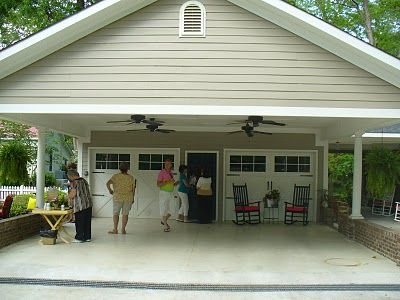 one car attached carport | notice the ceiling fans isnt that a nice touch do you see side