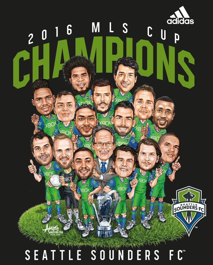 Seattle Sounders FC win it! Here's my 2016 MLS Championship Caricature Victory Parade Shirt, contracted by Adidas. www.amosink.com