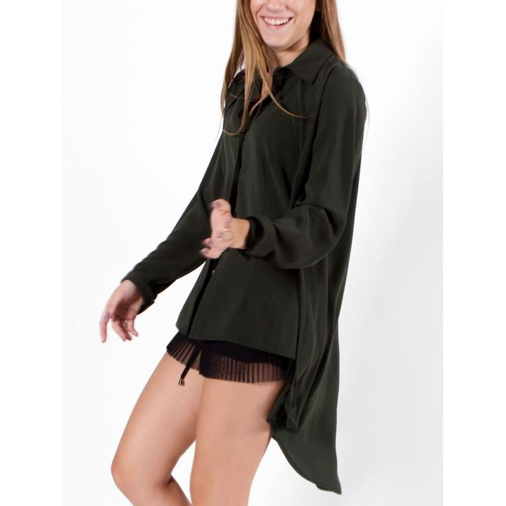 ZINO JORDAN Γυναικεία λαδί μακρυμάνικη ασύμμετρη πουκαμίσα με γιακά