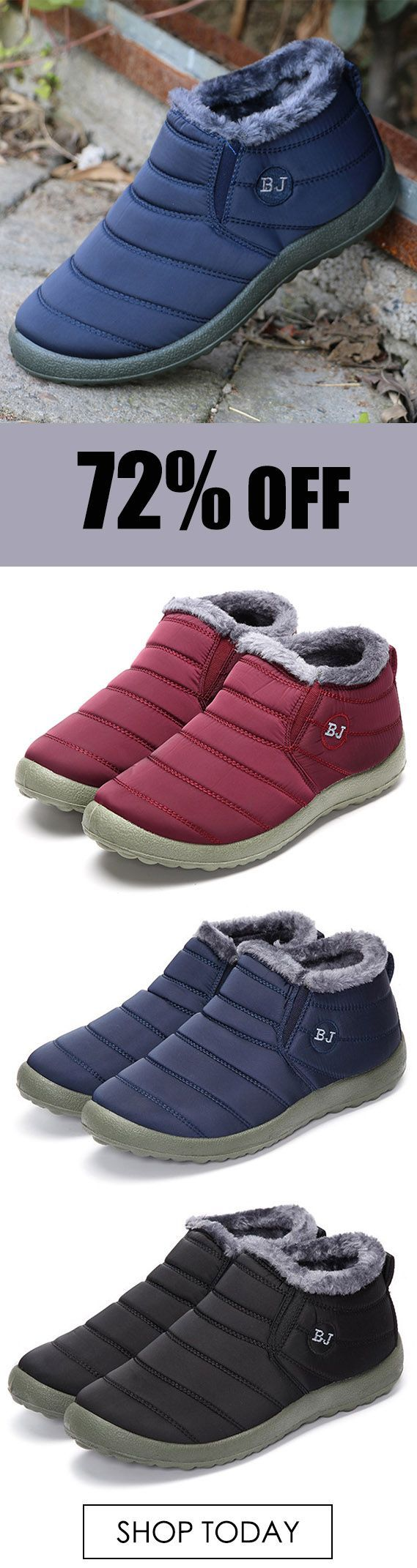 BJ Shoes Warm Wool Lining Flat Ankle Snow Boots For Women. #boots #shoes