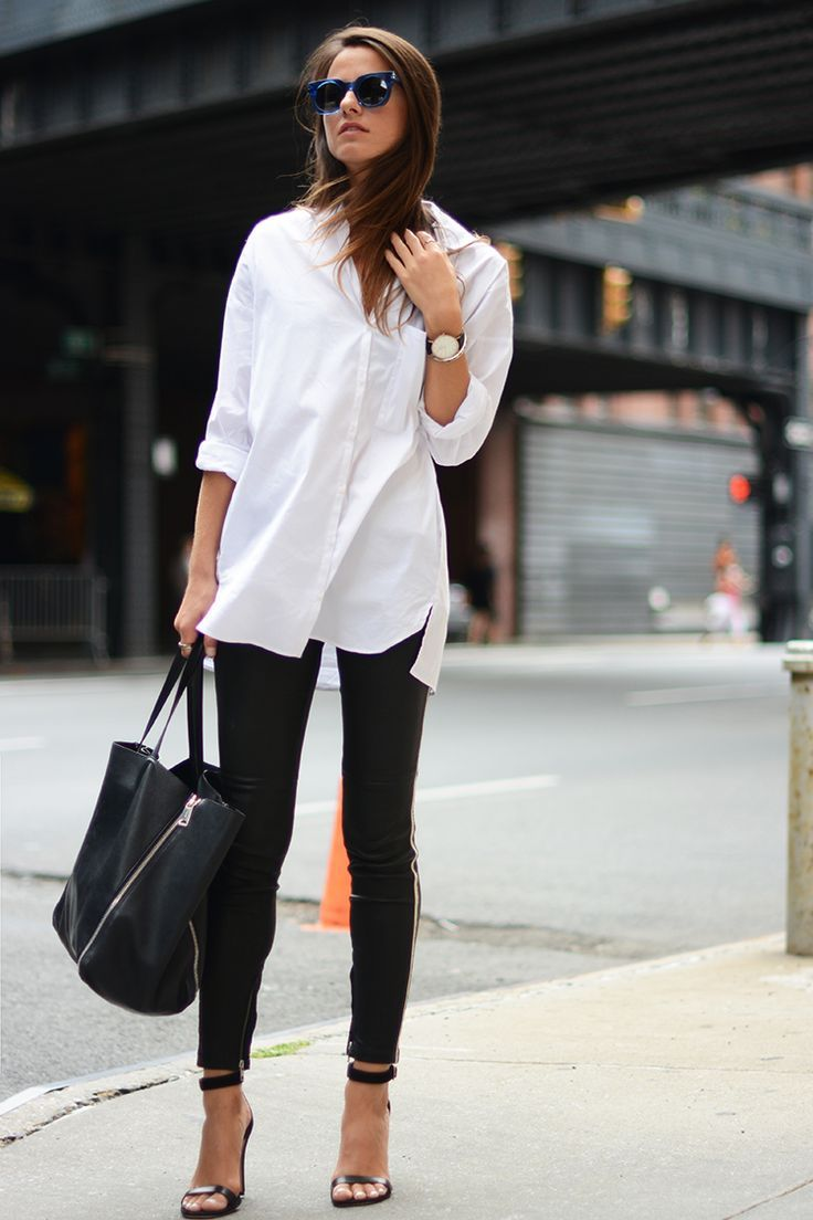 White shirt + black pants
