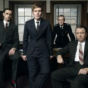 "ALL BUSINESS: ""Endeavour"" stars Jack Laskey (left), Shaun Evans, Anton Lesser, Roger Allam."
