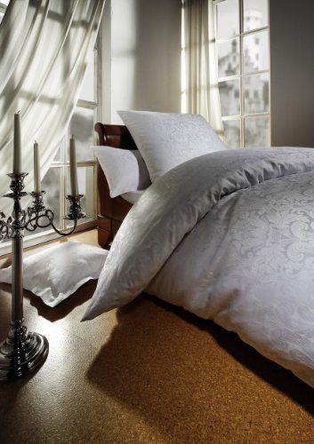 Curt Bauer Damast Bettwäsche Set Florenz 135x200 cm + 80x80 cm Kissenbezug, Farbe weiß