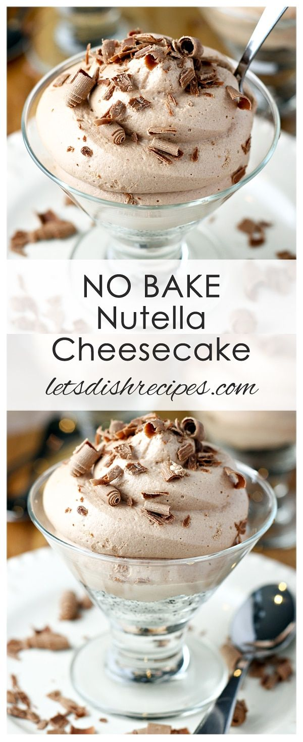 No-Bake Nutella Cheesecake: Individual No-Bake Nutella Cheesecakes Recipe: These delicious single serving cheesecakes feature sweetened cream cheese, Nutella, and whipped cream in an easy to make, decadent chocolate dessert. #cheesecake #nutella
