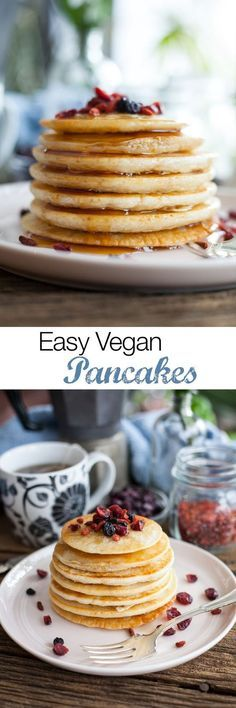Delicious fluffy pancakes from scratch that have no dairy or eggs! This recipe makes the best vegan breakfast ever, don't forget plenty of vegan butter and maple syrup.  Vegan Pancake Recipe