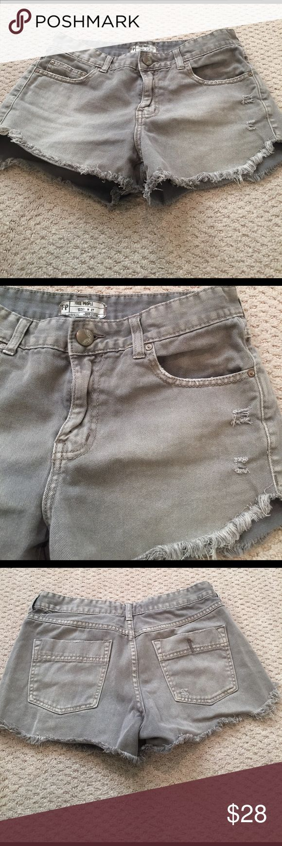 Free People Shorts Free People grey denim cutoff shorts with a dolphin cut on the sides. Great condition and great summer shorts Free People Shorts Jean Shorts