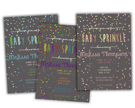 Printable Baby Sprinkle Invitation - Confetti Boy Sprinkle Girl Sprinkle - Gold Glitter Pink - Blue Teal - DIY Rainbow Sprinkle Invitations