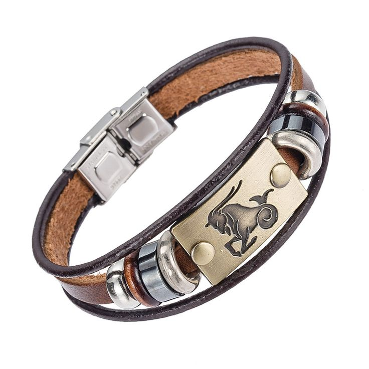 Hot Selling Europe Fashion 12 Zodiac signs Bracelet With Stainless Steel Clasp Leather Bracelet for Men, Women - CoolTrendyStuff