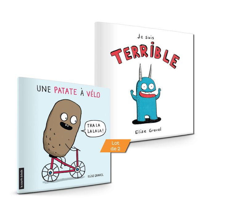 Une patate à vélo / Je suis terrible - Elise Gravel - Lot de 2 livres tout-carton de 30 pages chacun. Illustrations en couleurs. -   Age : 1 an -   Référence : 00907665 #Histoire #Livre #Enfant #Petits #Conte #Apprendre #Cadeau #Vacances
