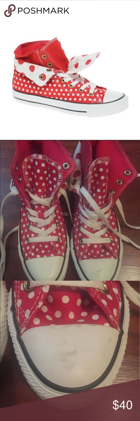 Converse All Star Two Fold High Top Trainers Beautiful red and white polka dot high top converse Shoe is new without box. Has never been worn. Some dirt in the front shown on the pic is just from storing the shoe Very cute! Converse Shoes Sneakers