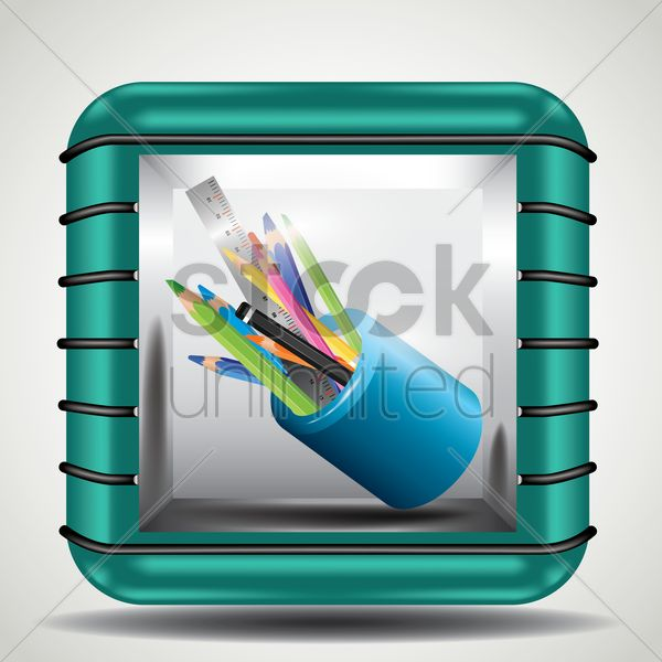 pencils and pens in holder vector graphic