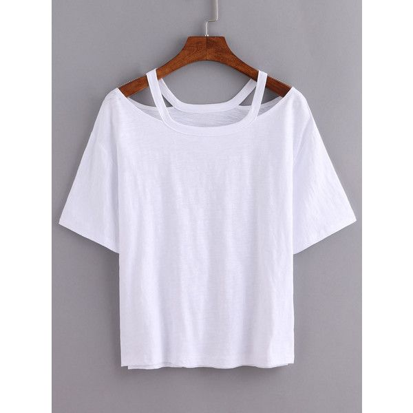 Cutout Loose-Fit White T-shirt ($7.99) ❤ liked on Polyvore featuring tops, t-shirts, shirts, tees, white, white tee, short sleeve t shirts, short sleeve shirts, cut out t shirts and short sleeve tee