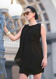 Party Wear Georgette Black Plain Tops