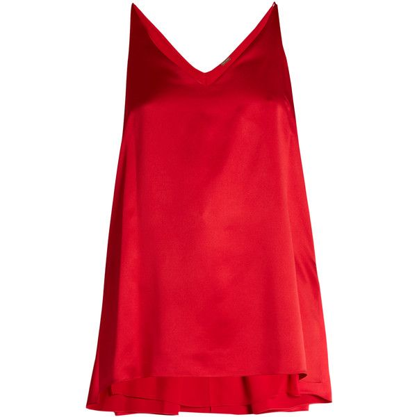 Adam Lippes Step-hem silk-satin cami top ($890) ❤ liked on Polyvore featuring tops, cami top, cami tank tops, red camisole, long layering tank tops and long camisole