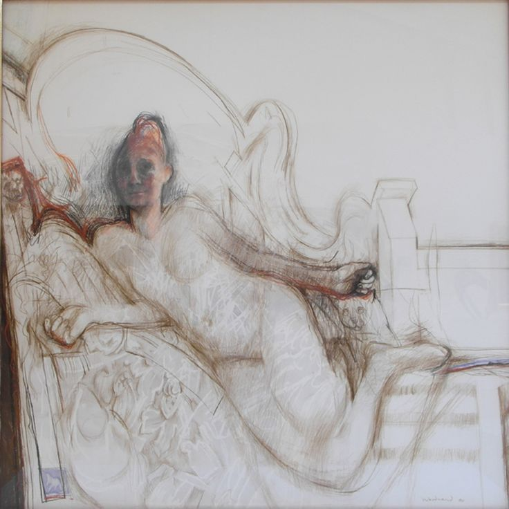 From Gomboc Gallery Sculpture Park, Margaret Woodward  Figure in Dappled Light, Pastel on paper laminated to canvas 150cm x 150cm