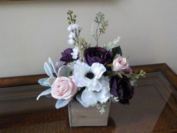 Wildflower Centerpiece Pink Rose Centerpiece by shannonkristina