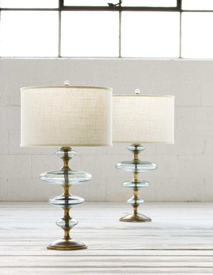 palecek lighting. PALECEK CALYPSO GLASS TABLE LAMP Hand-blown Recycled Glass Discs Layered On A Key Gold Palecek Lighting
