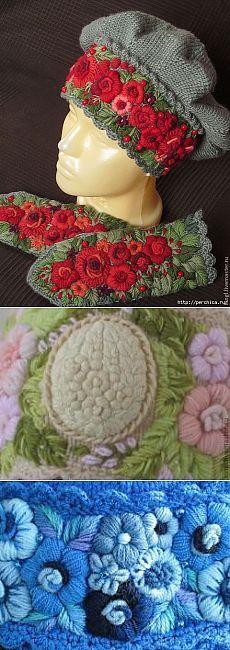 вышитые цветы на трикотаже