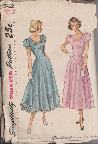 Simplicity 2428 - Ladies party dress vintage sewing pattern from the 1940's. Pattern is cut & complete