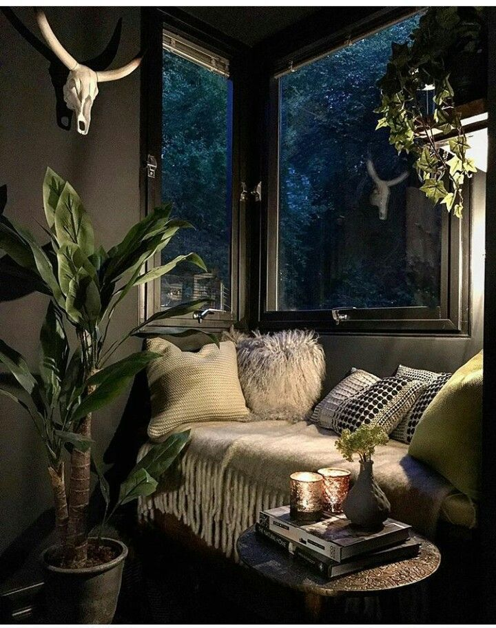 Moody Grey Green With Atmospheric Lighting Would Suit My Current Bedroom Aesthetic Dark Coloured Walls For Kate Beav Dark Living Rooms Interior Design Decor