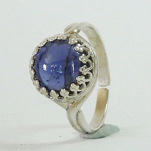 3.17CTs. Natural Violet Iolite Cabochon in Solid 925 Sterling Silver Multisize Ring           RI244