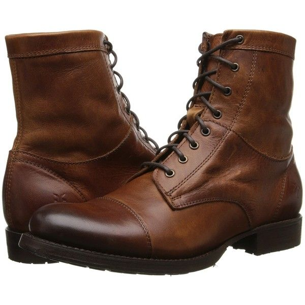 Frye Erin Lug Work Boot (2,210 GTQ) ❤ liked on Polyvore featuring shoes, boots, men, ankle boots, cognac antique pull up, short boots, short lace up boots, lace-up ankle boots, rubber work boots and rubber ankle boots
