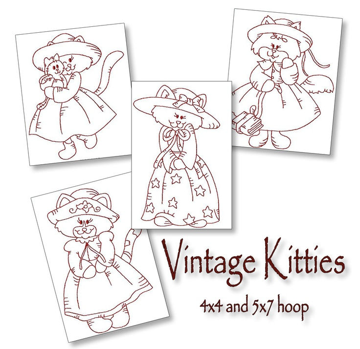 Vintage kitties redwork machine embroidery patterns