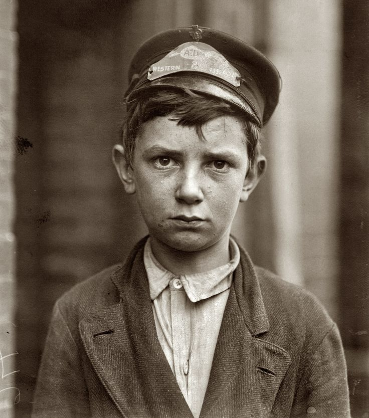 """May 1910. Wilmington, Delaware. Richard Pierce, 723 Walnut Street. Fourteen years of age. Western Union Telegraph Messenger No. 2. Nine months in service. Works from 7 a.m. to 6 p.m. Smokes. Visits houses of prostitution. Investigator, Edward F. Brown. Photo and caption by Lewis Wickes Hine. """"Samuel Richard Pierce was born about 1896. He married a girl named Agnes. They had five children listed in the 1930 census, and Richard's occupation was given as a plumber. He died in 1970."""""""