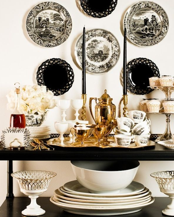 Eddie Ross - Elegant dining room buffet vignette with black decorative wall plates, ...Dining Room, Decor Wall, Black And White, White Decor, Black White, Black Gold, Plates Wall, White Gold, Desserts Buffets