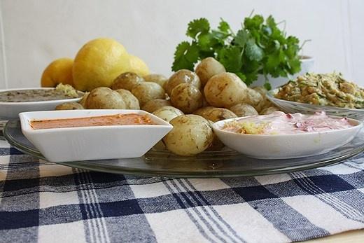 Solrostahin, tranbärsyoghurt, gräslökshommos och harissa. Klicka på bilden för att hitta recepten till ett gäng härliga röror! Foto: P4 Kronoberg