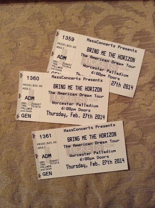 BMTH Concert tickets