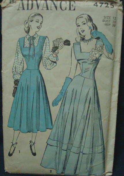 1940s Evening Dress Drop Waist Fit & Flare Pattern by kinseysue