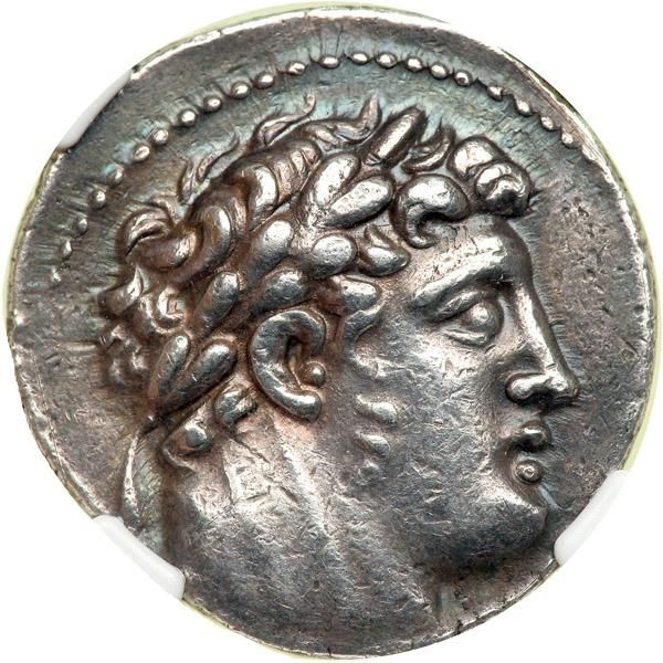 Phoenicia, Tyre, 92/91 BC. AR Shekel (or Phoenician-Weight Tetradrachm; 14.29 g) dated year 35 Laureate head right of Melqart. Eagle standing left on prow; in left field, club with date above. BMC 126-127. . Estimated Value $375 - 475. #Coins #Ancient #MADonC