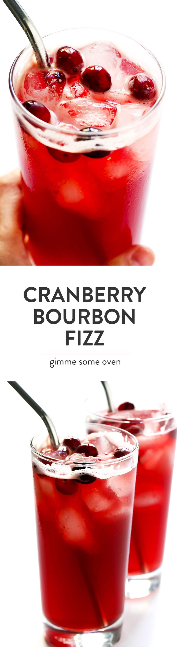 These 3-Ingredient Cranberry Bourbon Fizz cocktails are super quick and easy to make, and the ginger beer gives then an extra fizzy, spicy kick. They're the perfect simple drink for holiday entertaining (perfect especially for Thanksgiving and Christmas)!