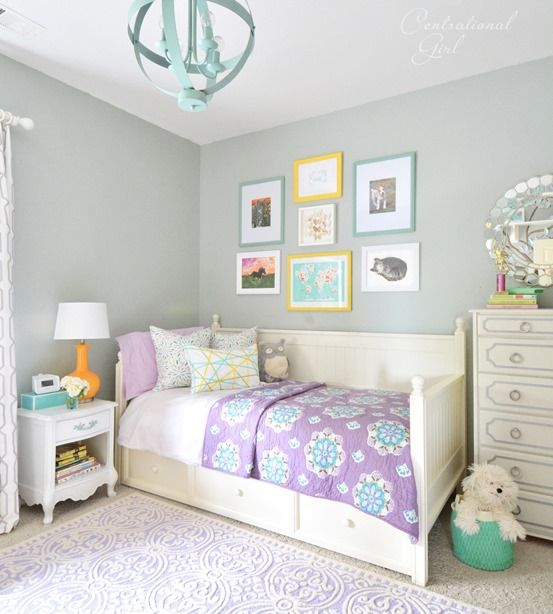 For the kids room - Minus the purple, sub in teal, should be good for gender neutral room. Paint color Jade Frost by Glidden,