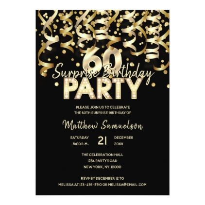Custom 60th SURPRISE BIRTHDAY PARTY Gold Black Card - birthday invitations diy customize personalize card party gift