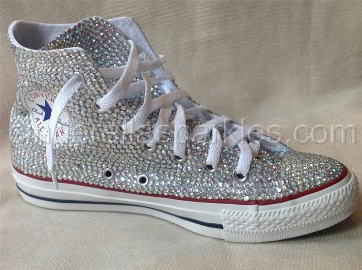 White Chuck Taylor High Top Crystal Rhinestone Converse - Bridal Prom Romany   Clothes, Shoes & Accessories, Women's Shoes, Trainers   eBay!