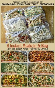 6 Instant Meals-On-The-Go. Nutritious and easy for backpacking, camping, dorms, office, travel, and emergencies. from http://TheYummyLife.com