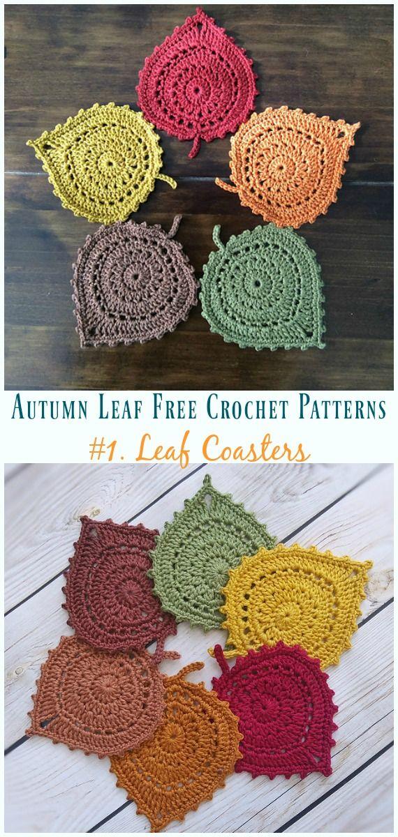 Crochet coasters decoration pattern AUTUMN LEAVES