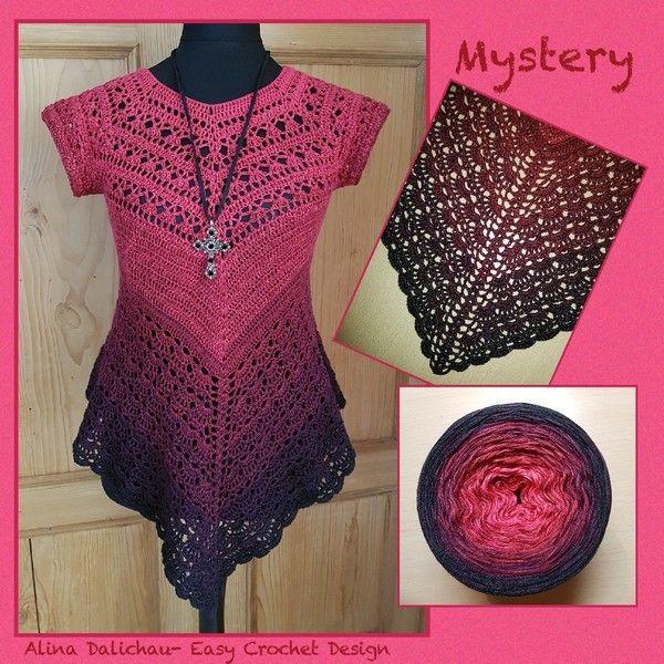 """Mystery Tunika RVO Häkelanleitung, alle Größen. . Diese Tunika hat viele Gesichter...und ihr könnt eurer Kreativität freien Lauf lassen. Folgendes wird benötigt: Ich habe mit gefachtem Garn (""""Liebeswirbel"""" und """"Dark Mystery"""", Easy Crochet Design) ge"""
